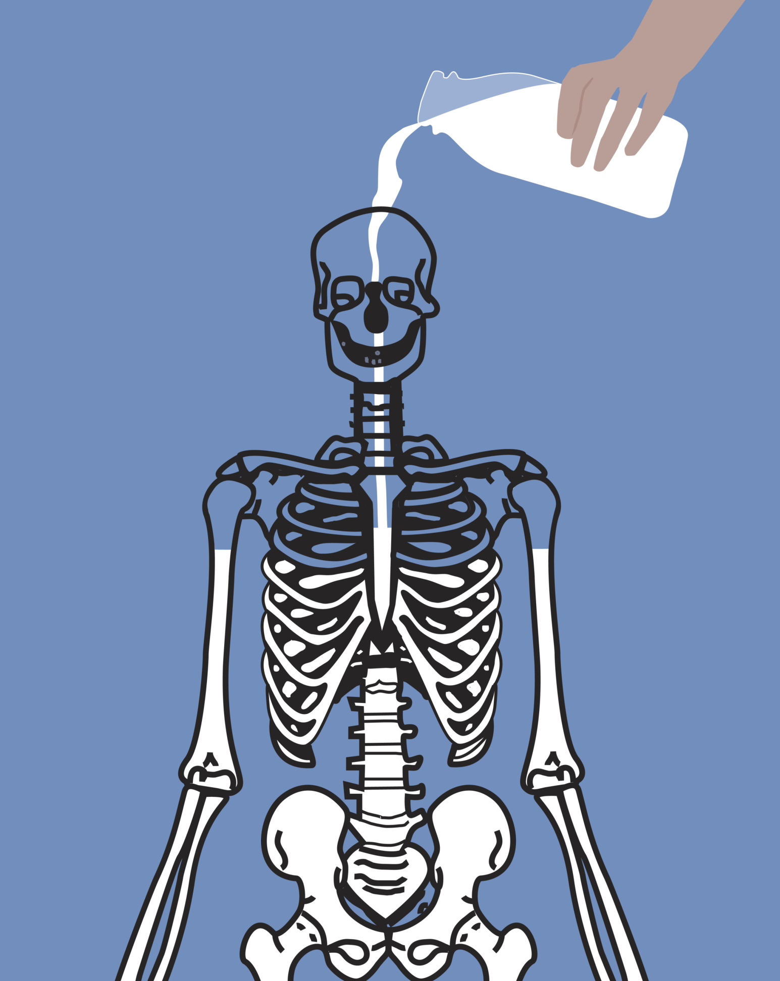 Person pouring milk into human skeleton